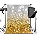 Sensfun 5x7ft Silver Gold Bokeh Spot Glitter Sequin Wall Photography Background Backdrop Shining Glittering Dots Halos Sparkle Wedding Birthday Party Photo Backdrops Children Studio Props