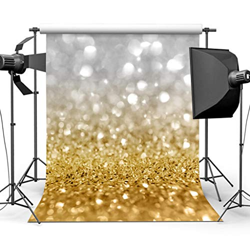 Sensfun 5x7ft Silver Gold Bokeh Spot Glitter Sequin Wall Photography Background Backdrop Shining Glittering Dots Halos Sparkle Wedding Birthday Party Photo Backdrops Children Studio Props ()
