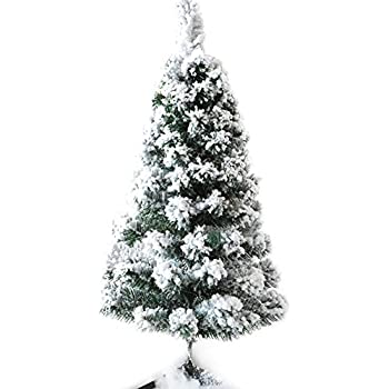 chichic christmas tree 3 ft flocked snow 100 branch tips with solid legs realistic faux xmas - 3 Christmas Tree