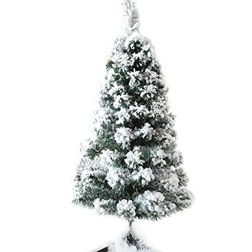 CHICHIC 3ft Mini Flocked Christmas Trees Small Christmas Tree with Snow Artificial Tabletop Christmas Tree Realistic Miniature Tiny Desk Top Table Faux Xmas Decorations Decor, 120 Branch Tips, White (Xmas Trees Flocked)