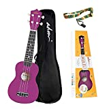 ADM Soprano Ukulele for Kids Beginners 21 Inch with Uke Starter Pack Kit, Gig Bag and Strap, Purple
