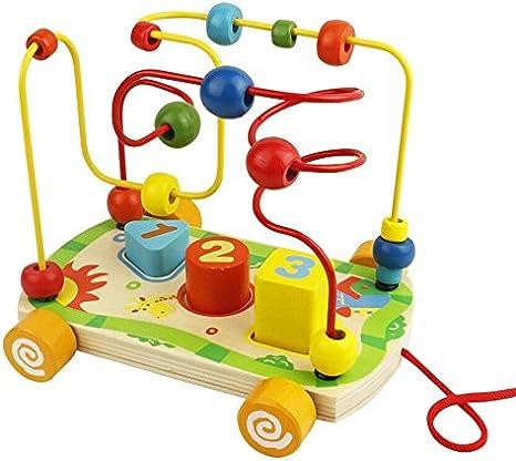 Juguetes Montessori de Madera Laberinto Abaco de Cuenta Juegos Motricidad Fina Cubo de Actividades para Bebes 18 Meses