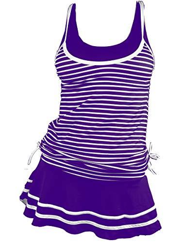MiYang Women's Tankini Striped Vintage Swim Dress Purple XX-Large