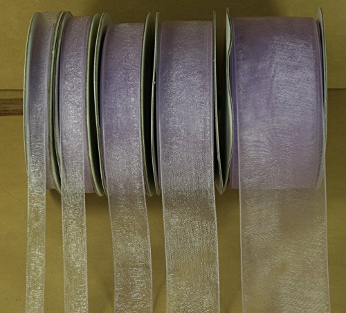 LAVENDER Plain Organza Nylon Ribbon 25 Yards Choose Size 1/4