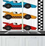 Lunarable Boy's Room Kitchen Curtains, Race Cars at Start Line Adrenaline Exotic Sports Championship Artsy Theme, Window Drapes 2 Panel Set for Kitchen Cafe, 55 W X 39 L Inches, Marigold Blue Red Review