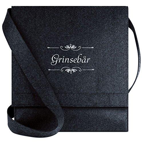 Halfar® Tasche mit Namen Grinsebär bestickt - personalisierte Filz-Umhängetasche VyHWM2