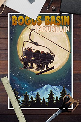 Bogus Basin, Idaho – Ski Lift and Full Moon with Snowboarder (12×18 Art Print, Wall Decor Travel Poster)