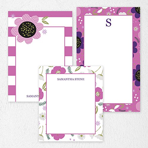(Custom Purple Floral Note Pad Set Personalized Stationery - 50 lined pages- Durable cover and spiral bound. Size: 5.5x8. Made in the USA.)