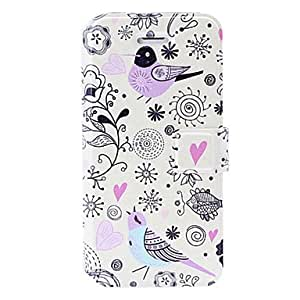 Small Fresh Cartoon Pattern Leather Case with Holder & Card Slots for iPhone 5/5S