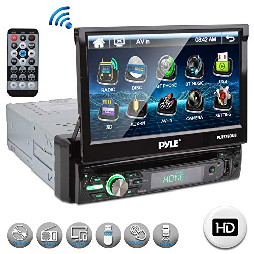 Single DIN Head Unit Receiver – in-Dash Car Stereo with 7″ Multi-Color Touchscreen Display – Audio Video System with Bluetooth for Wireless Music Streaming & Hands-Free Calling – Pyle PLTS78DUB