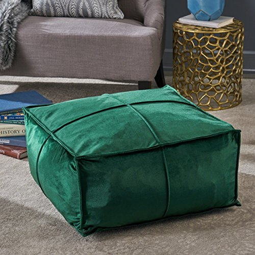 Christopher Knight Home 304225 Cytheria Emerald Velvet Square Bean Bag - Bags Square Bean
