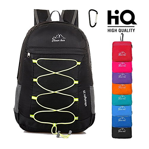 Lightweight Packable Hiking Backpack Foldable Water Resistant Durable Travel Daypack 25L Black