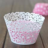 Zorpia® 60pcs Laser Cut Lace Muffin Case Wedding Birthday Baby Shower Filigree Vine Cupcake Wrappers Wraps Cases ZRA0168957