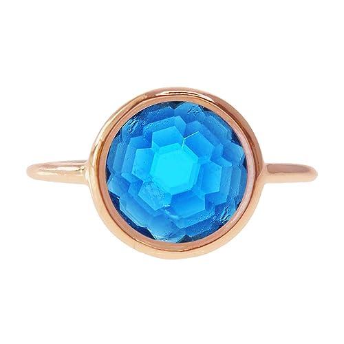 Swiss Blue Quartz 18k Rose Gold Clad Wholesale Gemstone Jewelry Round Ring