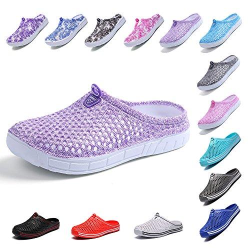 OUYAJI Garden Clog Shoes Beach Footwear Water bash Womens Summer Slippers Purple 39