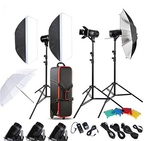 GOWE Photo Studio Speedlite Lighting Lamp Kit Set with 300W Studio Flash Strobe Light Stand Softbox Barn Door Trigger by Gowe
