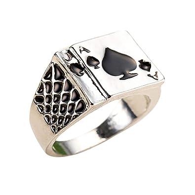 daa07178c10c HSINCERELY Poker Ring Charm Exquisito Elegante Anillo de Dedo para Hombres