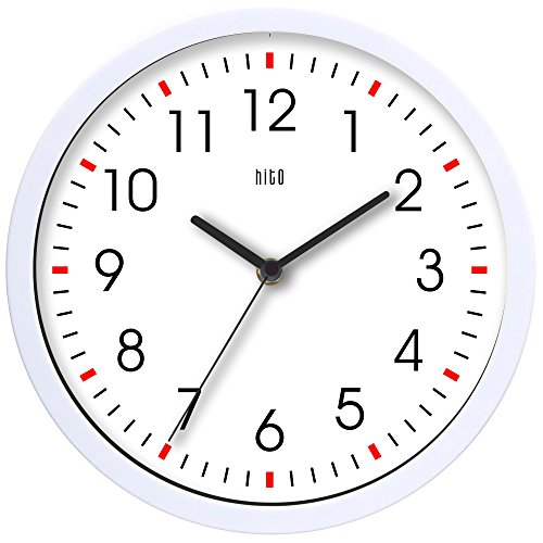 hito Silent Wall Clock Non ticking 10 inch Excellent Accurate Sweep Movement Glass Cover, Decorative for Kitchen, Living Room, Bathroom, Bedroom, Office (White#2) by hito