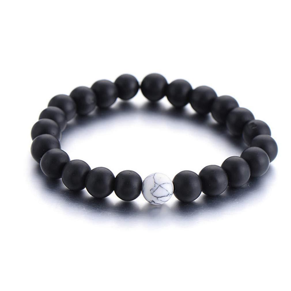 NIKOLay 2 Pcs Couple Beads Bracelet Matte Artificial Agate Stone Distance Sports Marble Pattern Wild Unisex Bracelet,Black and White