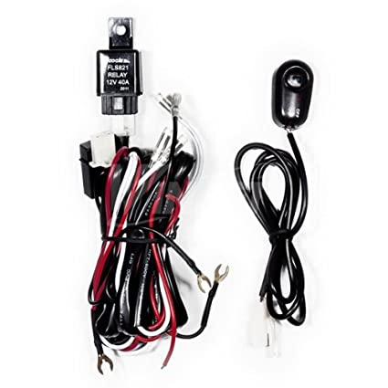 amazon com winjet universal wiring harness include switch kit car Fog Light Wiring without Relay amazon com winjet universal wiring harness include switch kit car auto fog lights lamp wire led off road wiring kit 130w 40 amp relay automotive