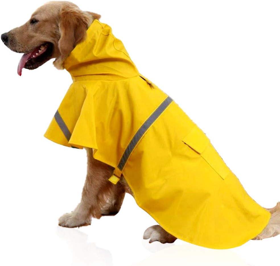 Ajustable Impermeable Mascota Perro Chaqueta con Capucha,Ultra-Light Transpirable Impermeable Chubasquero para Perros Peque/ños Medianos Grandes EONAZE Chubasquero para Perros XS