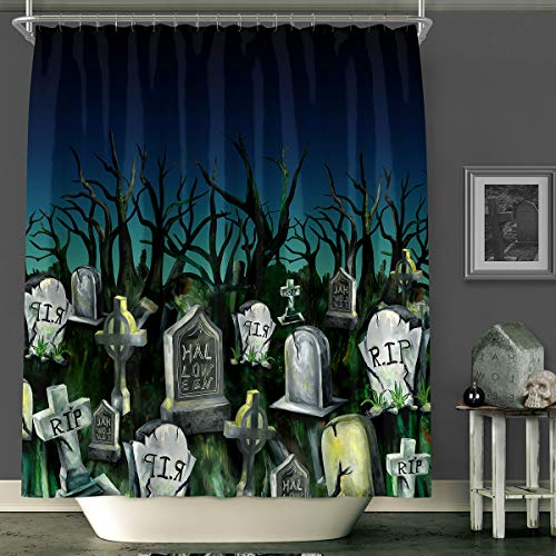 (MACOFE Shower Curtain 3D Shower Curtain Halloween Christmas Decorations Mildew Resistant Polyester Fabric, Waterproof,Hooks Included, Original Design Hand Drawing,71x71in (Black)