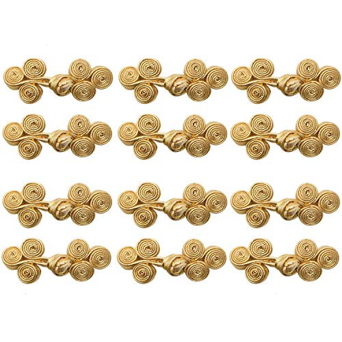 JETEHO 12Pairs Chinese Frog Knot Closure Buttons Fastener for DIY Sewing Casual Coats, Cheongsam Wear Cape, Cloak, Sweater, Scarf