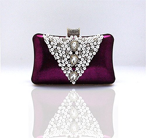 Cinyifan Women's Pearl Beads Crystal Rhinestone Hard Case Clutch Evening Bag Purse