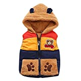 Jchen(TM Clearance Sale Autumn Winter Boys Baby Kids Outerwear Bear Cartoon Hooded Warm Waistcoat Vest for 0-24 Months (Age: 0-12 Months, Navy)