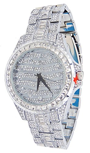 Totally Iced Out Silver Tone Hip Hop Men's Czs Bling Bing - Tone Out Iced Watch