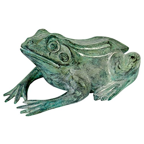 Design Toscano Small Bull Frog Cast Bronze Garden Statue For Sale