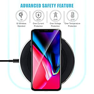 Wireless Charger, TOP-MAX Qi Wireless Chargers Ultra Slim LED Charging Pad Station for iPhone X,iPhone 8/8 Plus,Samsung Galaxy S7/S7 Edge, S8/S8 Plus, S6/S6 Edge/S6 Edge Plus, Note 8/Note 5
