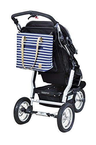 Lassig Casual Style Diaper Shoulder Bag with Matching Bottle Holder, Baby Changing Mat/Pad and Stroller Hooks, Striped Navy