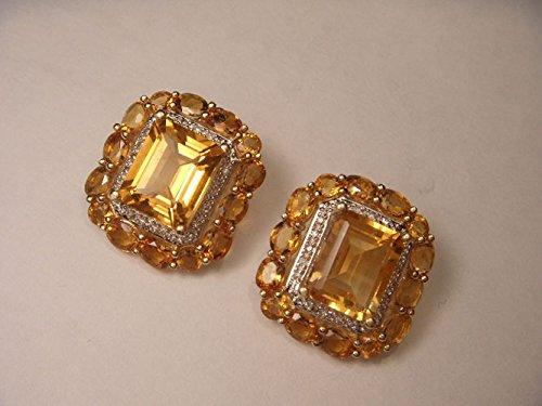 Earrings And Diamond Citrine (Gorgeous 14K Yellow Gold Huge Citrine Diamond Earrings)