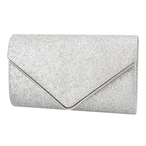 Dazzling Naimo with Clutch Flap Chain Detachable Evening Silver Bag Bag 199 1ZZR5nqwp