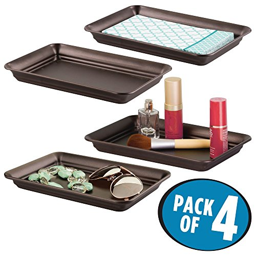 mDesign Metal Storage Organizer Tray for Bathroom Vanity Countertops, Closets and Dressers - Holder for Guest Hand Towels, Jewelry, Makeup Brushes, Reading Glasses - Pack of 4, Bronze by mDesign