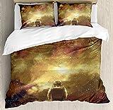 Fantasy Art House Decor Duvet Cover Set by Ambesonne, Cosmonaut Boy Standing against Cosmos Nebula Themed Solar Artprint, 3 Piece Bedding Set with Pillow Shams, Queen / Full, Tan Black