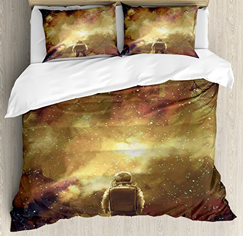 Fantasy Art House Decor Duvet Cover Set by Ambesonne, Cosmonaut Boy Standing against Cosmos Nebula Themed Solar Artprint, 3 Piece Bedding Set with Pillow Shams, Queen / Full, Tan Black by Ambesonne