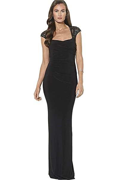 a08921665cb Lauren Ralph Lauren Women s Sequin Cap Sleeve Evening Gown Party Dress  Black ...