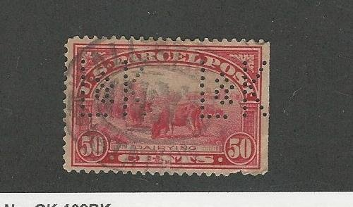 (United States, Postage Stamp, Q10 Perfin Used, 1913 Parcel Post)