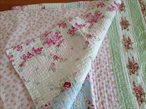 Finely Stitched Shabby Patchwork Vintage Pink Rose Chic Quilted Pillow (Rachel Pillow Sham)