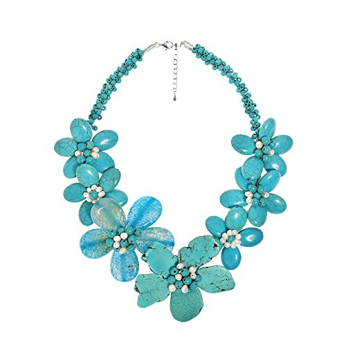 AeraVida Dreamy Blue Simulated Turquoise-Chalcedony-Cultured Freshwater Pearl Flower Necklace
