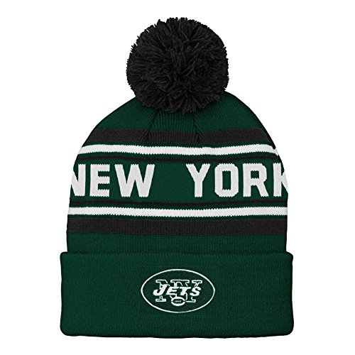 (NFL New York Jets Kids & Youth Boys Jacquard Cuffed Knit Hat with Pom Hunter Green, Youth One Size)