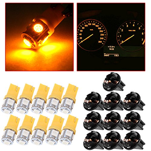 10Pack T10 5-5050-SMD 194 168 161 2825 Instrument Panel Dash Light Bulb w/Twist Lock Socket (yellow)