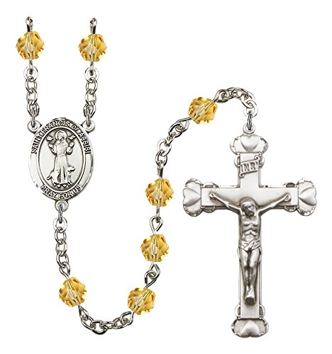 (Catholic Saint Medals Silver Finish St. Francis of Assisi Rosary with 6mm Topaz Color Fire Polished Beads, St. Francis of Assisi Center, and 1 5/8 x 1 inch Crucifix, Gift Boxed)