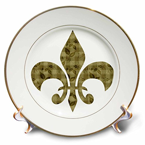 3dRose cp_123319_1 Gold Floral and Leaves French Fleur De Lis Porcelain Plate, 8-Inch