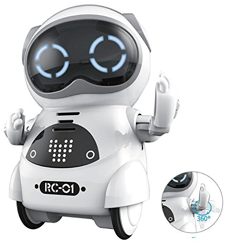 - SPACE LION Educational Mini Pocket Robot for Kids Interactive Dialogue Conversation,Voice Control, Chat Record, Singing& Dancing-White