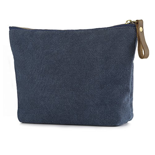 SMRITI Canvas Makeup Bag Pouch Purse Handbag Organizer with Zipper - Blue