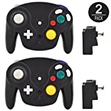 EEEKit 2 Packs Classic 2.4G Wireless Wii Gamecube Controller with Receiver Adapter for Nintendo GameCube Wii / Wii U NGC GC (2 Packs Black)