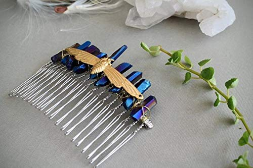- VANY Into the Night // Brass Moth and Blue Crystal Hair Comb, Raw Titanium Quartz Barrette, Insect Comb, Woodland Animal Hairpiece, Elven Jewelry